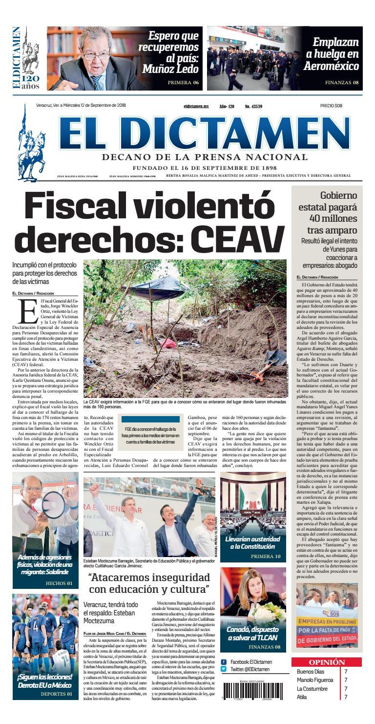 El Dictamen 12 de Septiembre 2018 by El Dictamen - issuu