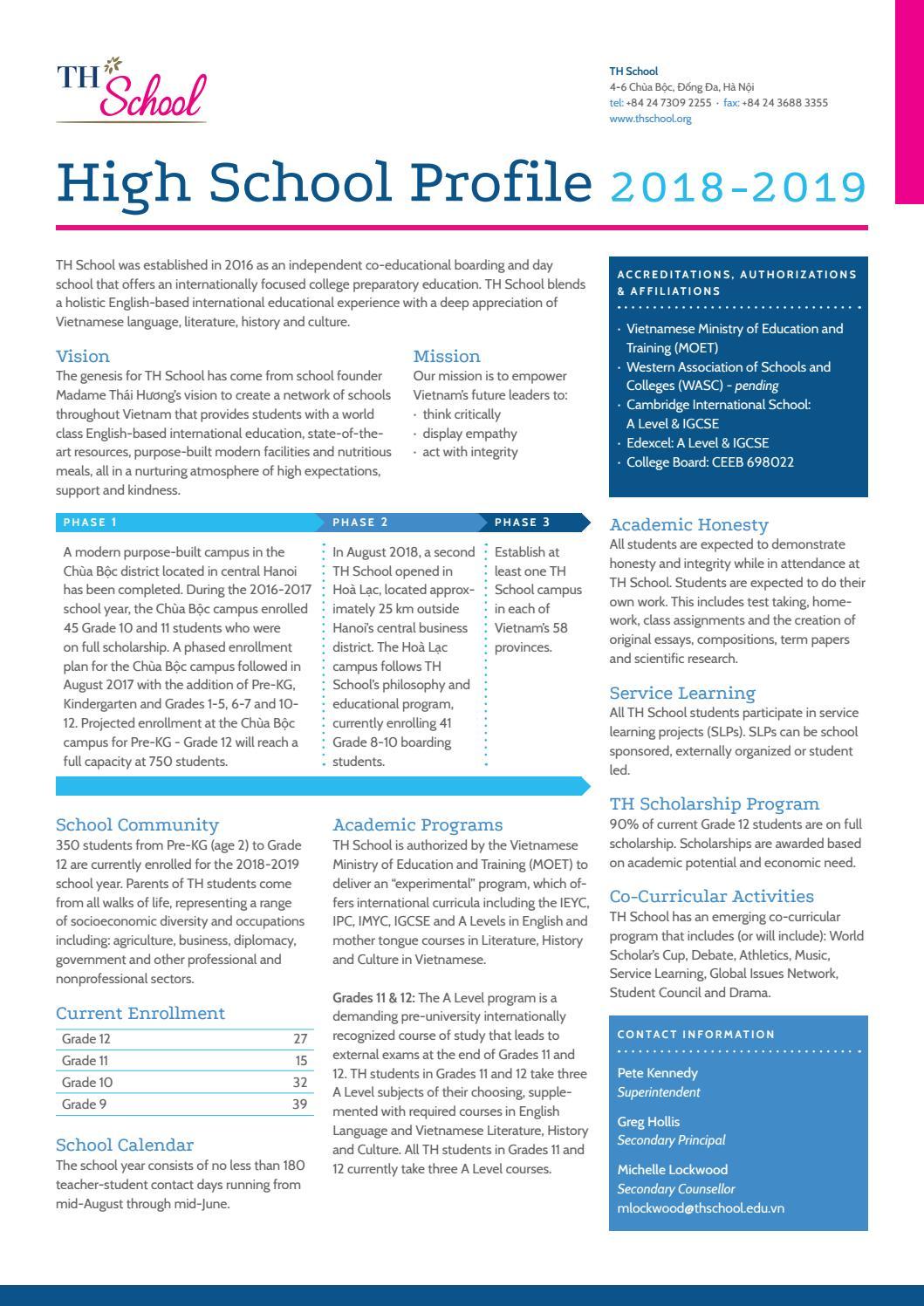 TH School High School Profile 2018-2019 by TH School - issuu