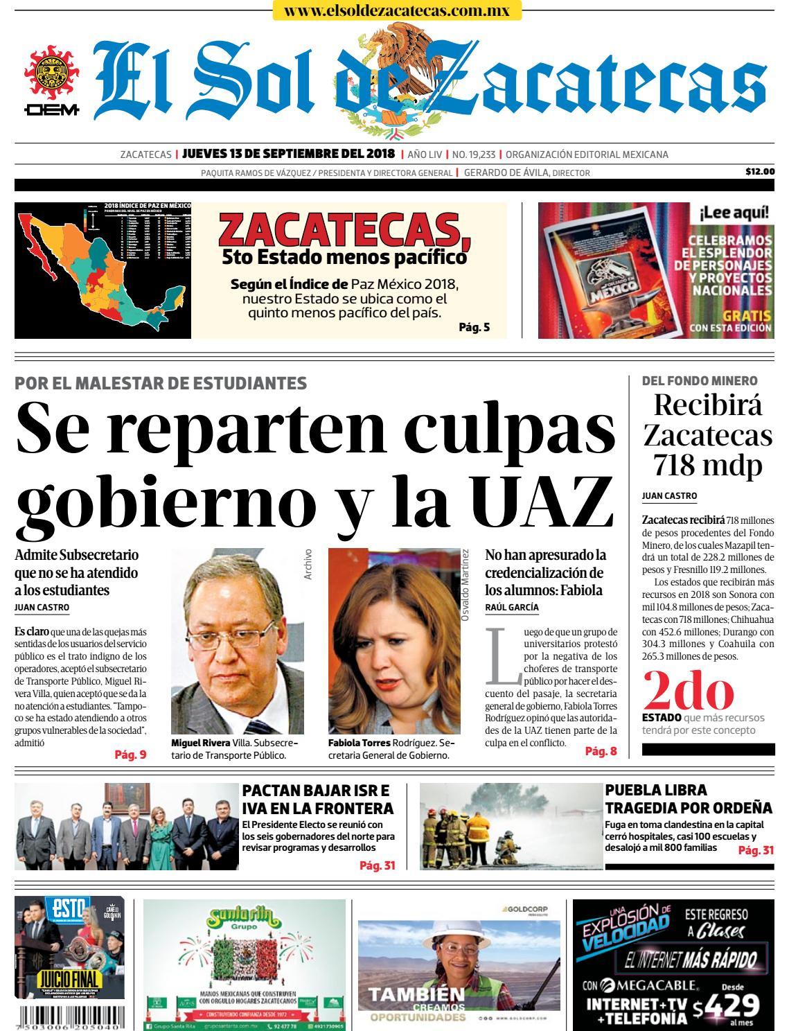 El Sol de Zacatecas 13 de septiembre 2018 by El Sol de Zacatecas - issuu 66e2946772dbc