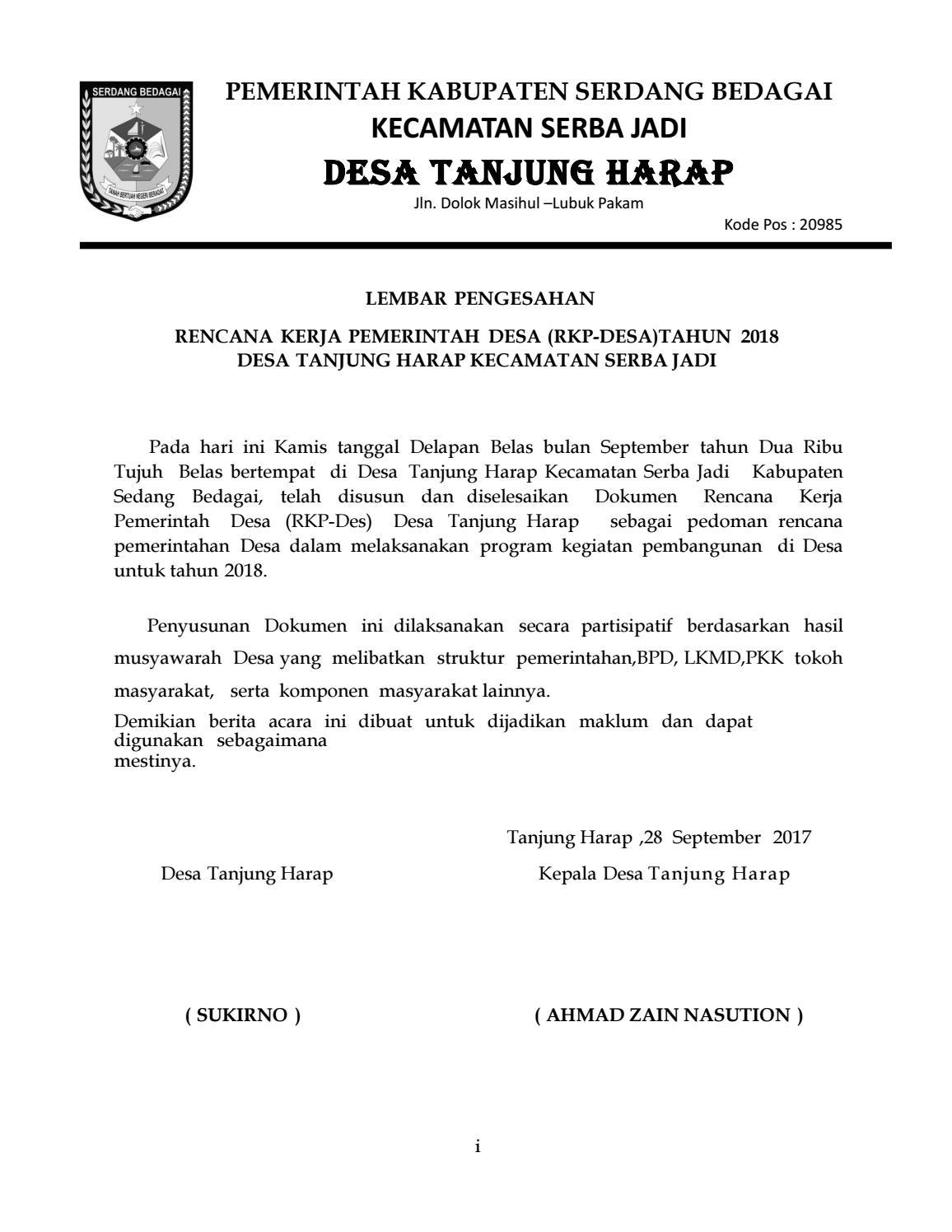 Rkp Desa Tanjung Harap Tahun 2018 By Desa Tanjung Harap Issuu