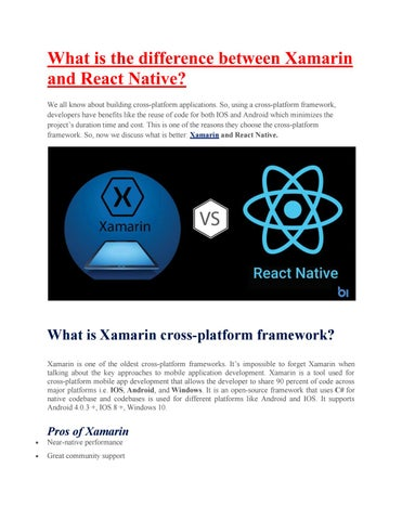 What is the difference between Xamarin and React Native? by