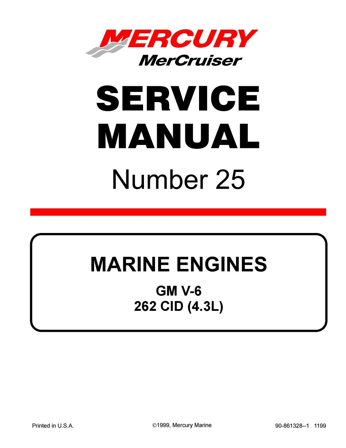 Mercury Mercruiser Marine Engines Gm V6 262 Cid  4 3l