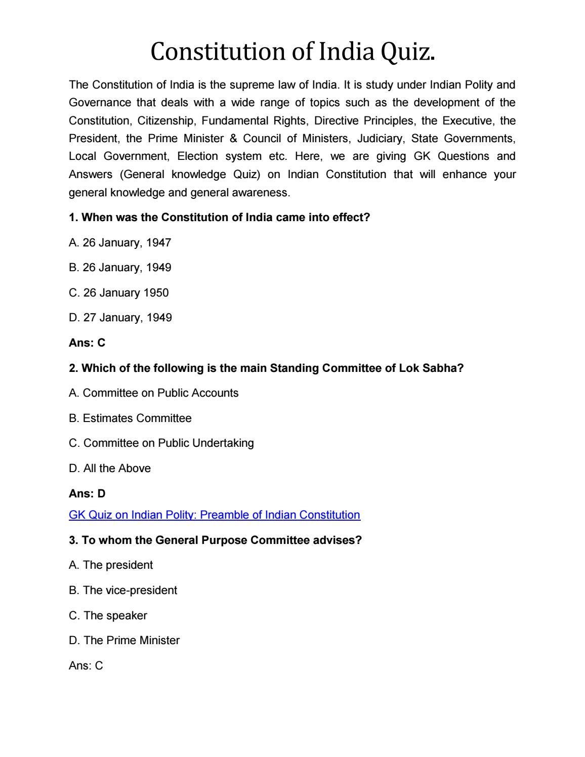Constitution of India संविधान के भाग विषय