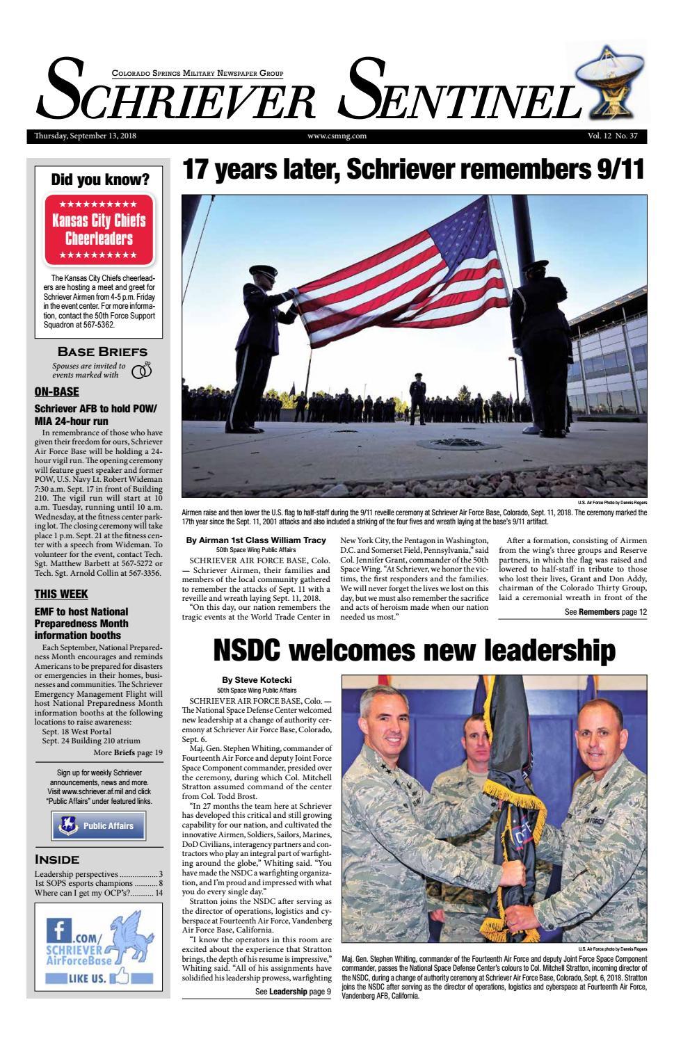 Schriever Sentinel Sept 13 2018 By Colorado Springs Military