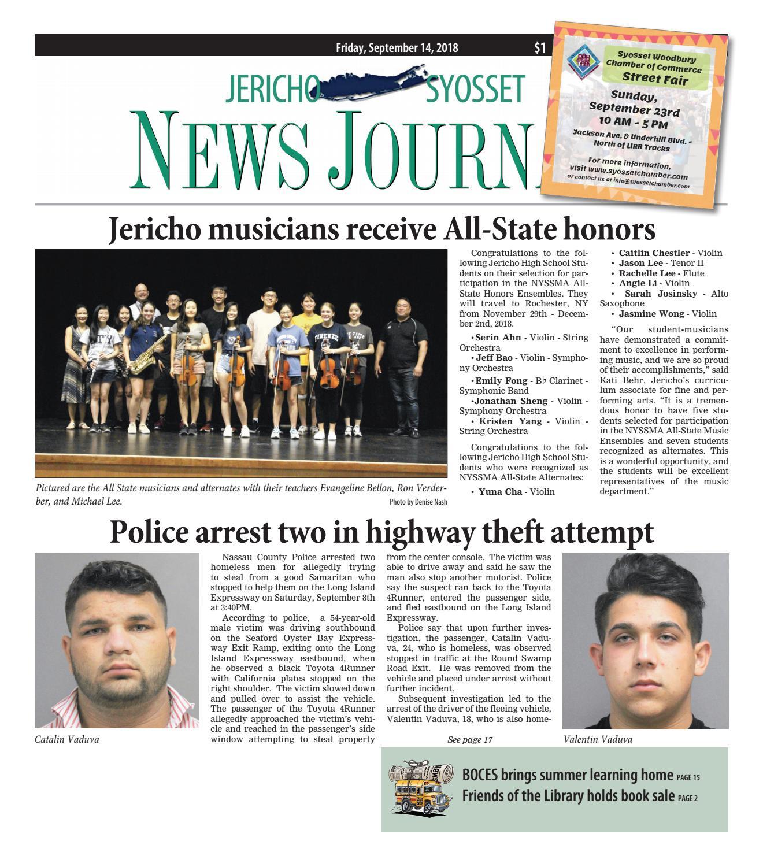 Jericho-Syosset News Journal (9/14/18) by Litmor Publishing