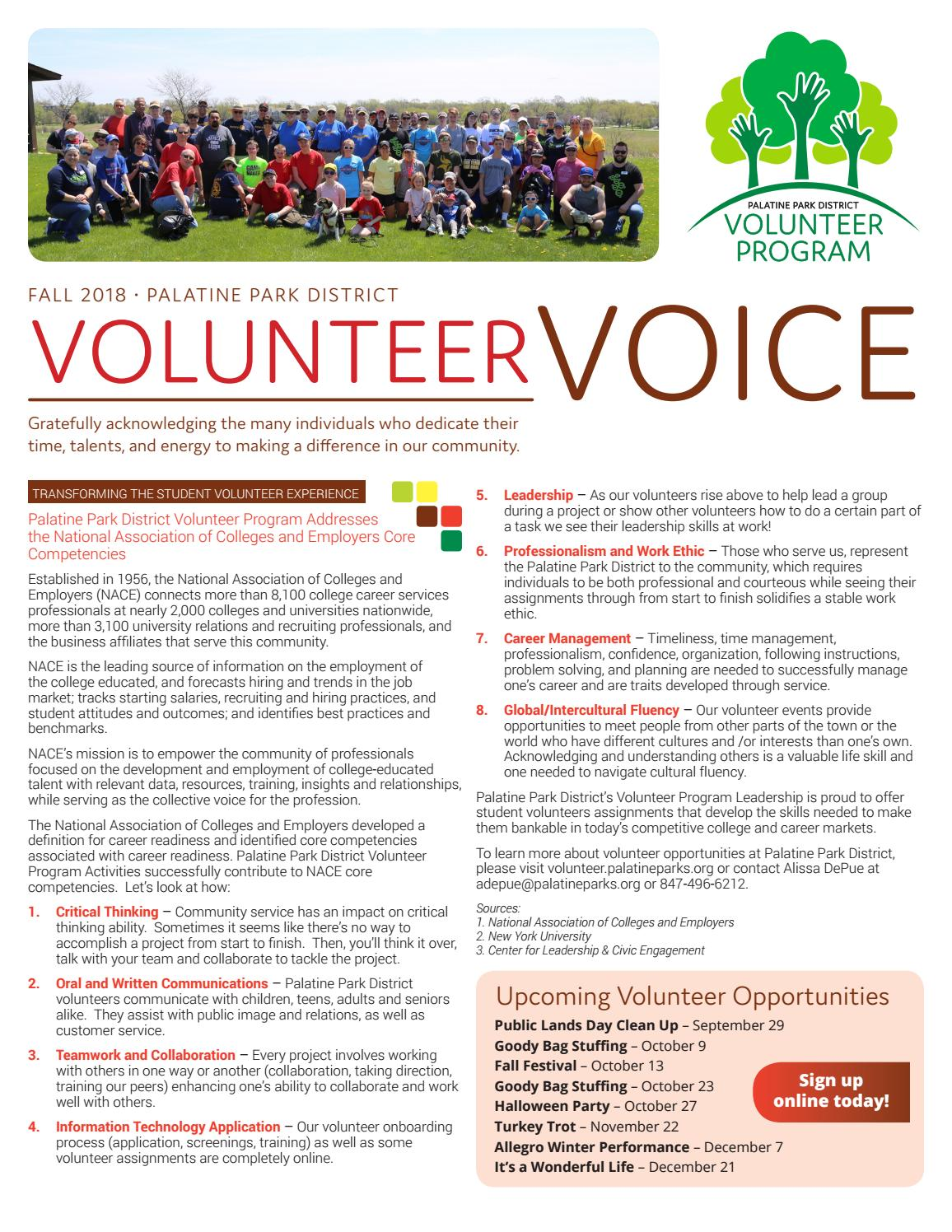 Palatine Park District | Volunteer Voice Newsletter (Fall 2018) by