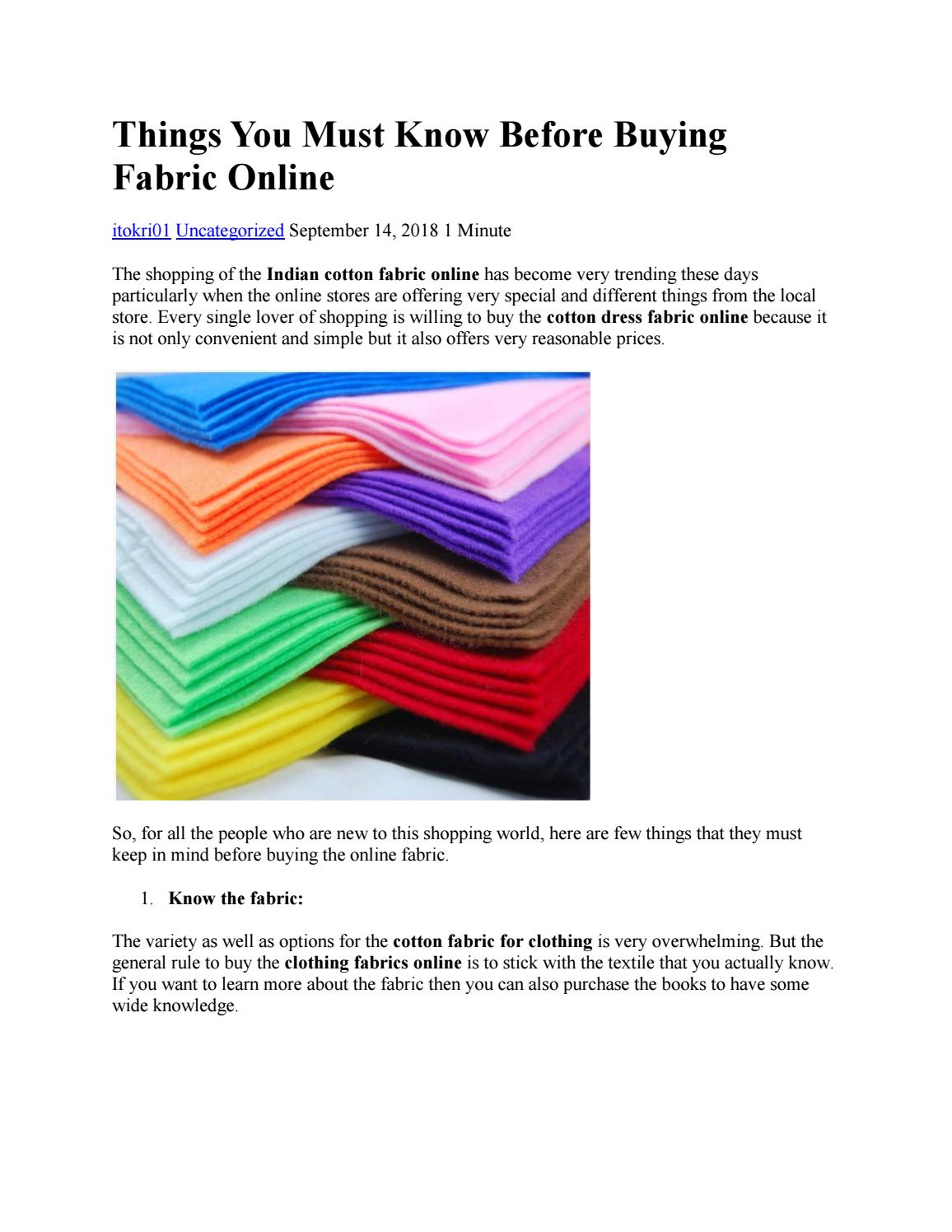 Things You Must Know Before Buying Fabric Online by itokri01