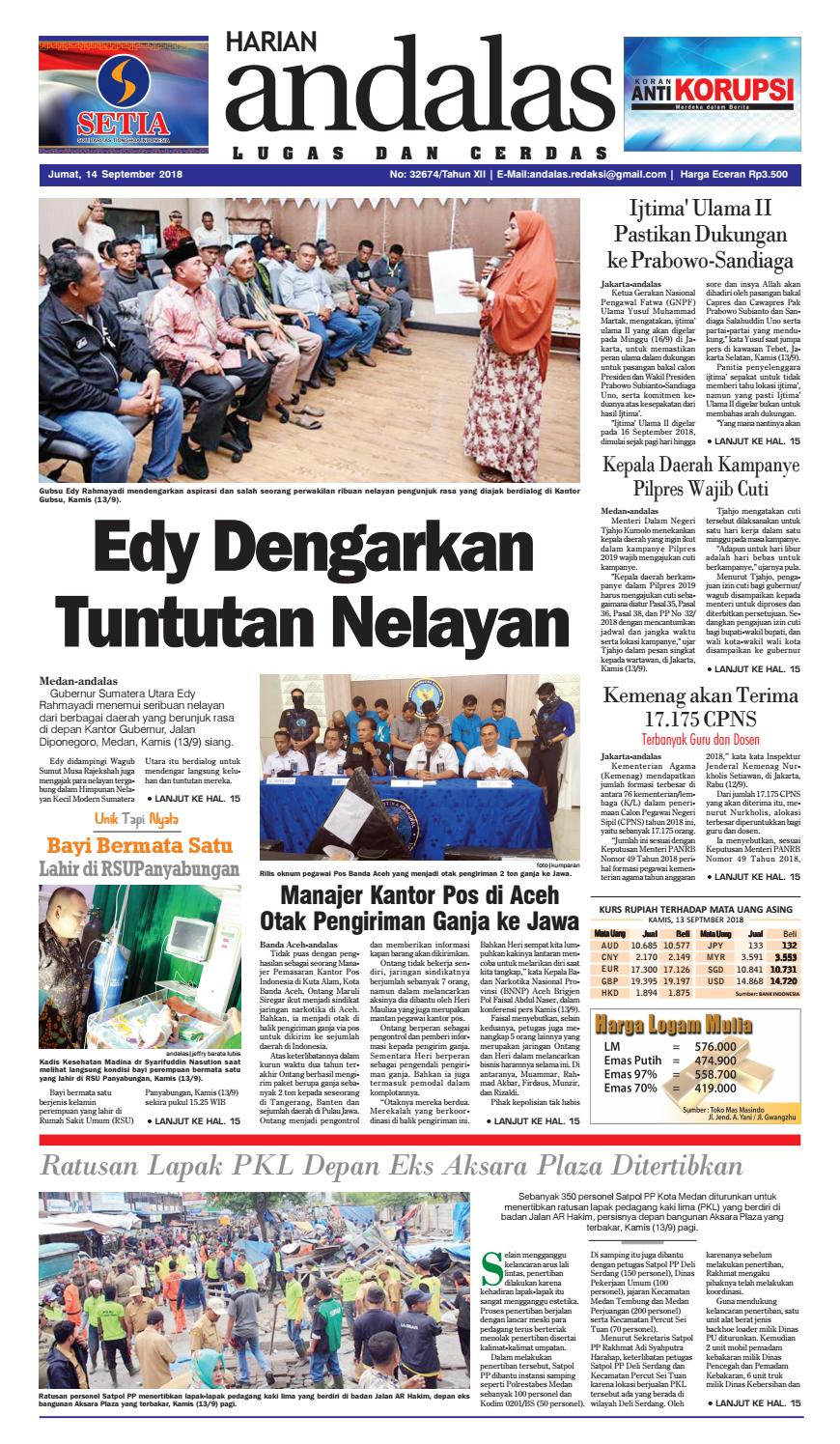 Epaper Andalas Edisi Jumat 14 September 2018 By Media Andalas Issuu