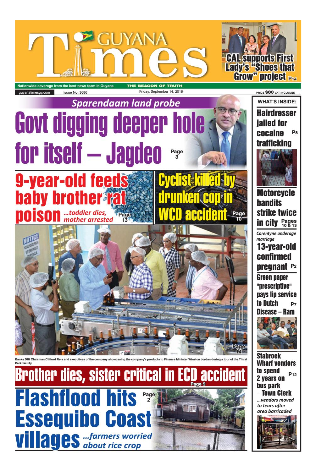 Guyana Times - Friday, September 14, 2018 by Gytimes - issuu