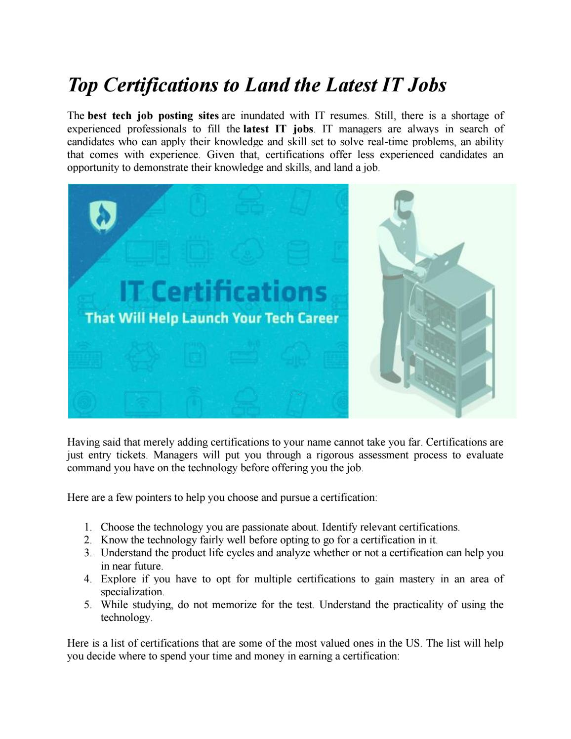 Top Certifications To Land The Latest It Jobs By Itjobcafe Issuu
