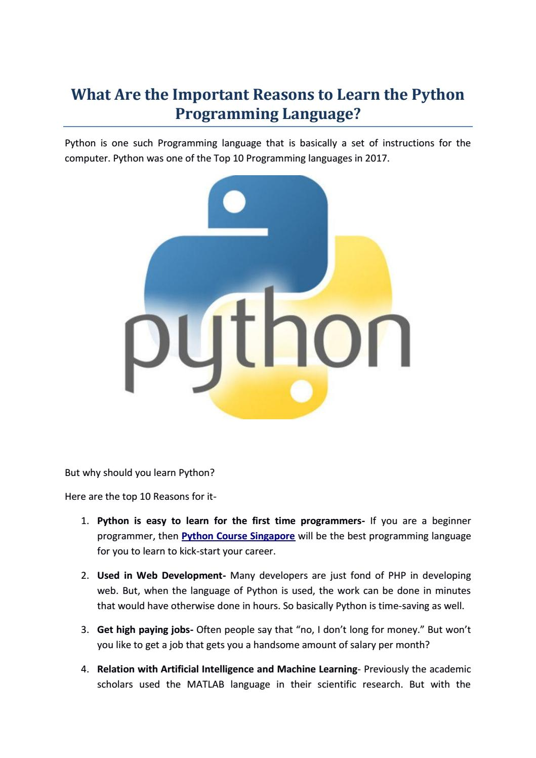 Important Reasons to Learn the Python Programming Language