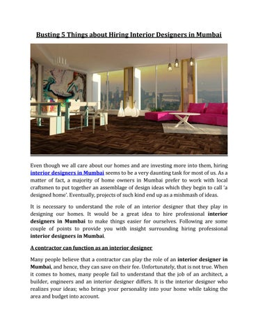 Busting 5 Things About Hiring Interior Designers In Mumbai By Home2decor Issuu