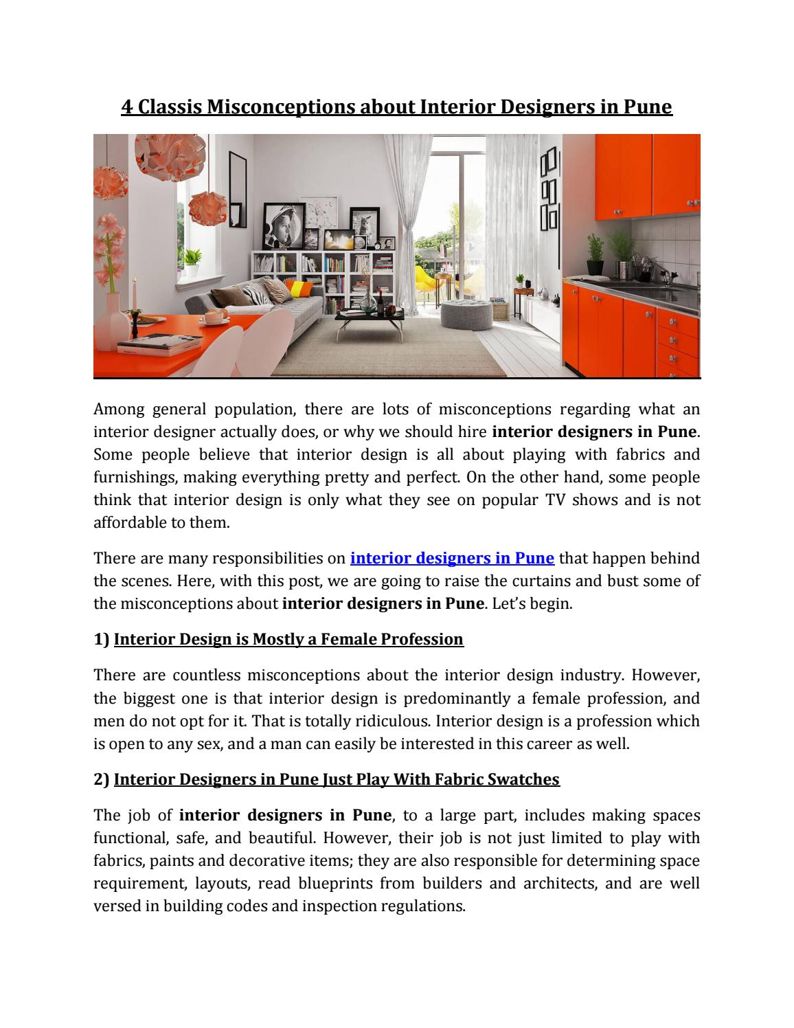 4 Classis Misconceptions About Interior Designers In Pune By