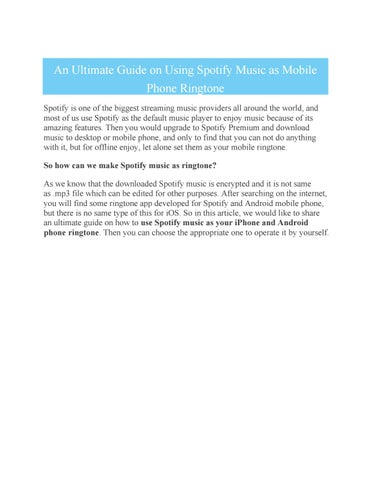 An Ultimate Guide on Using Spotify Music as Mobile Phone Ringtone by