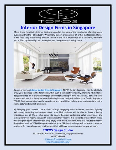 Hospitality Interior Design Firms Singapore: Interior Design Firms in Singapore by TOPOS Design Studio - issuurh:issuu.com,Design