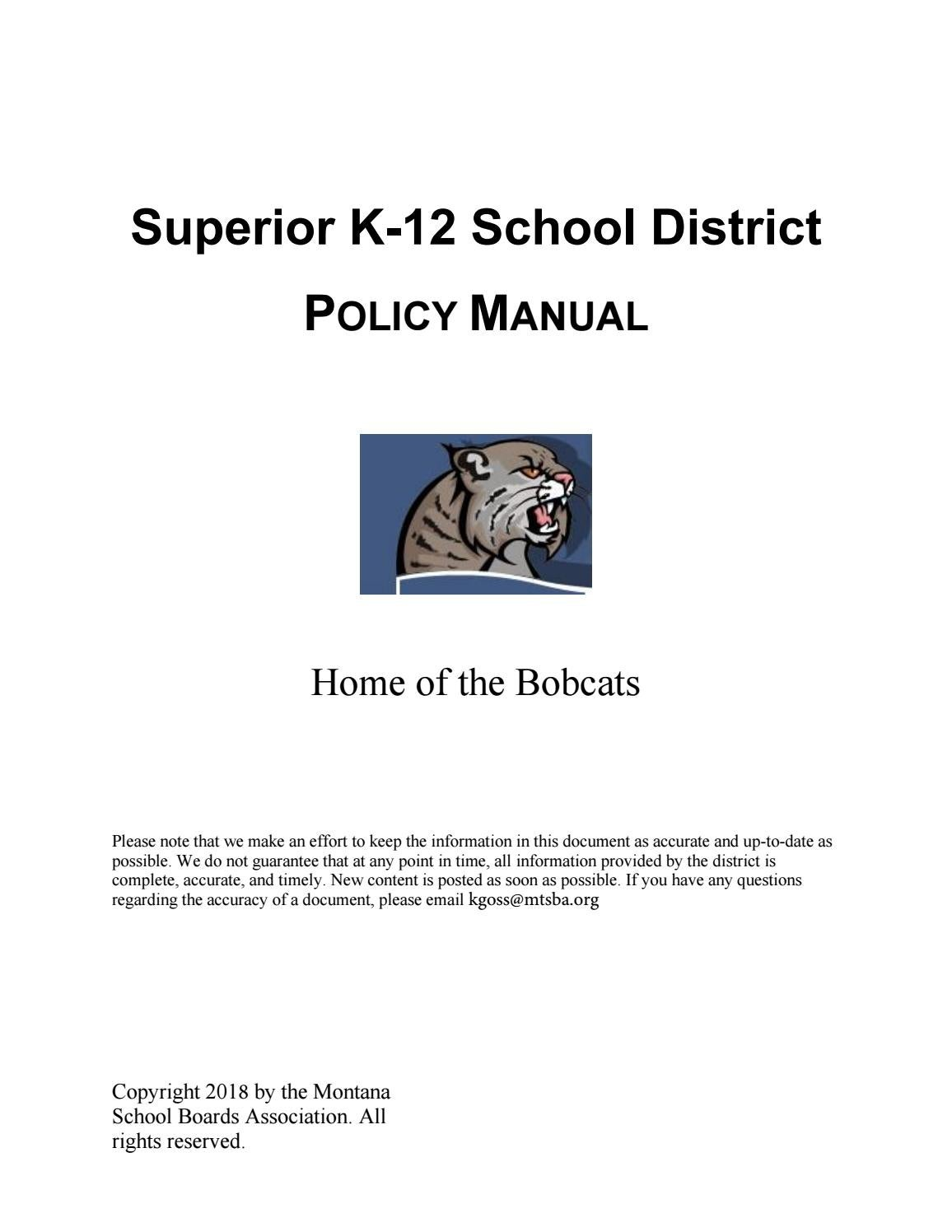 Superior K 12 School District Policy Manual By Montana Boards Example State Diagram Courseoffering Association Issuu