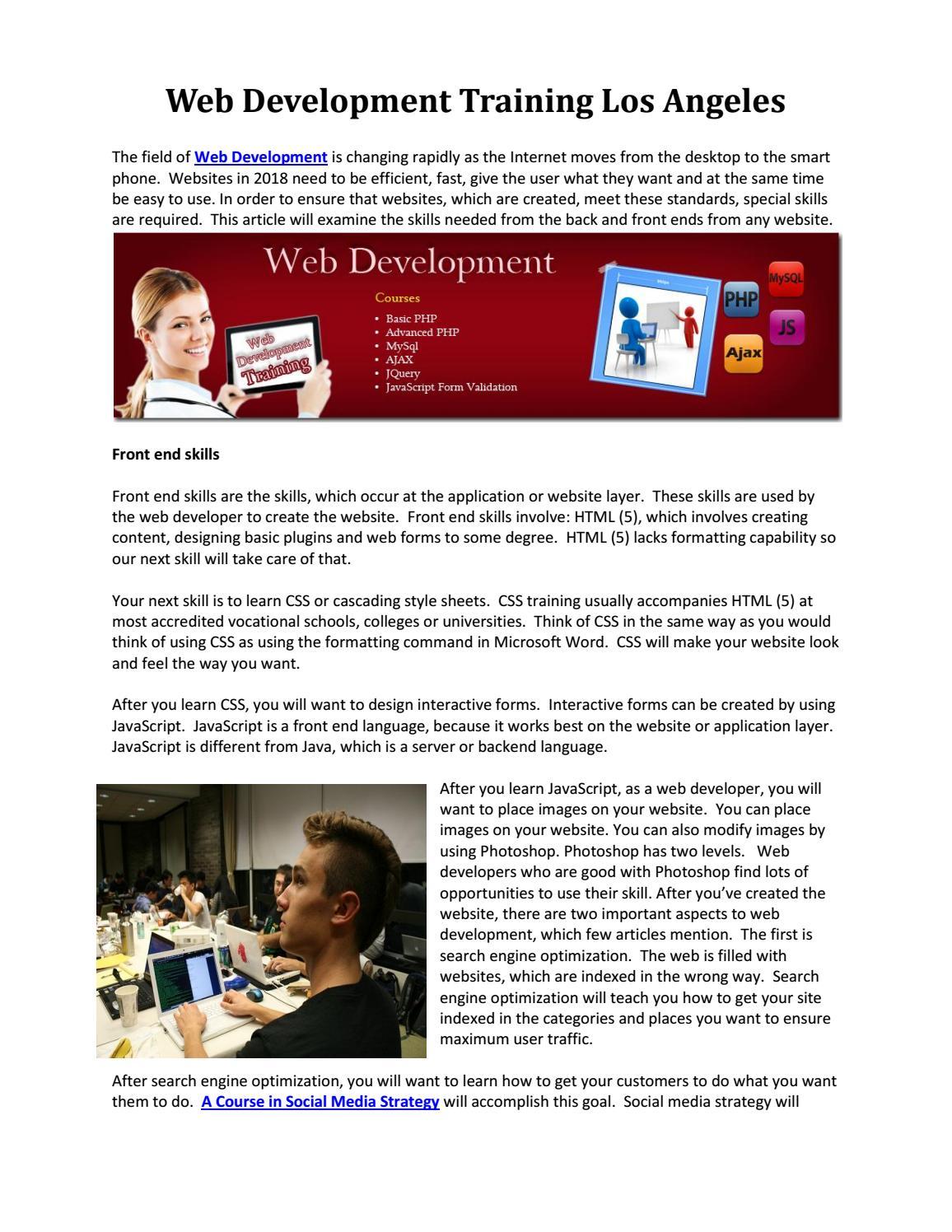 Web Development Training Los Angeles By Computer Training Los Angeles Issuu