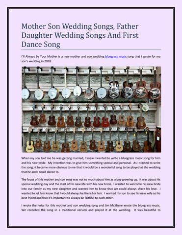 Mother Son Wedding Songs, Father Daughter Wedding Songs And First ...