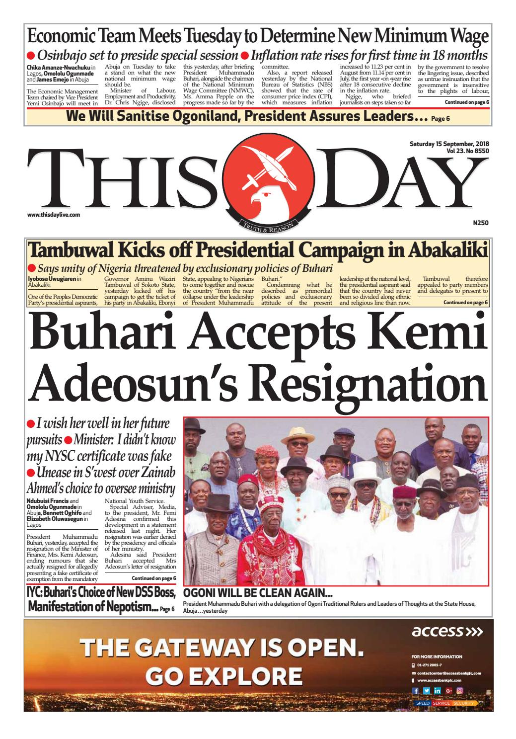 095082bab22 SATURDAY 15TH SEPTEMBER 2018 by THISDAY Newspapers Ltd - issuu