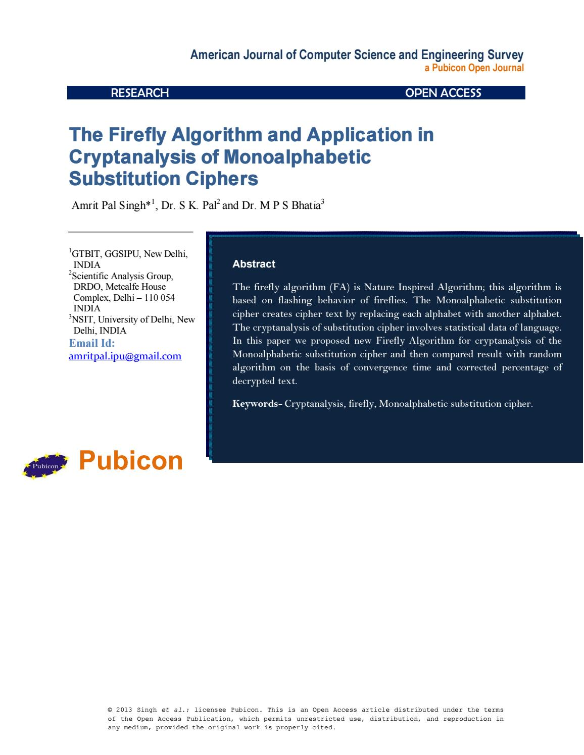 The Firefly Algorithm and Application in Cryptanalysis of