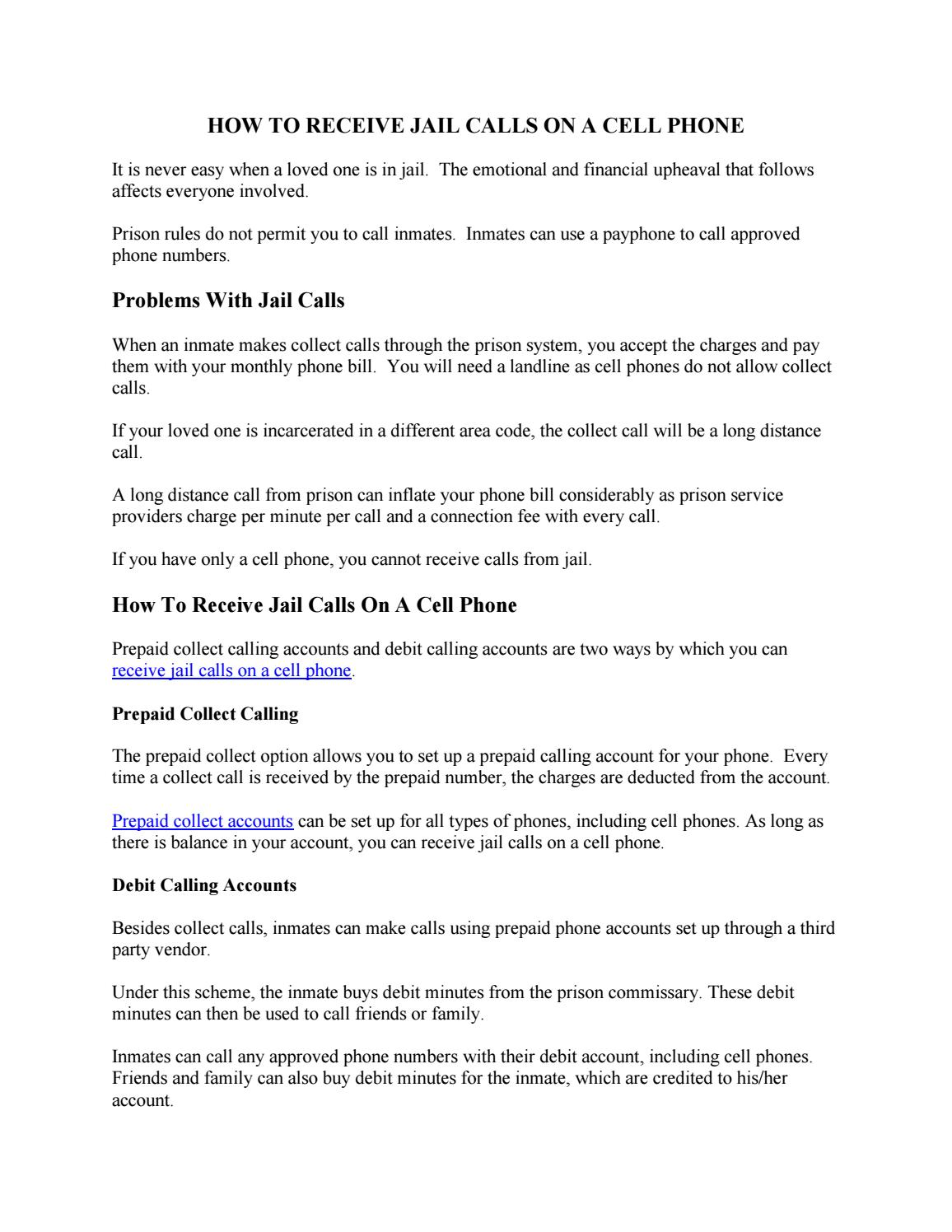 Receive Jail Calls On A Cell Phone by FedPhoneLine - issuu