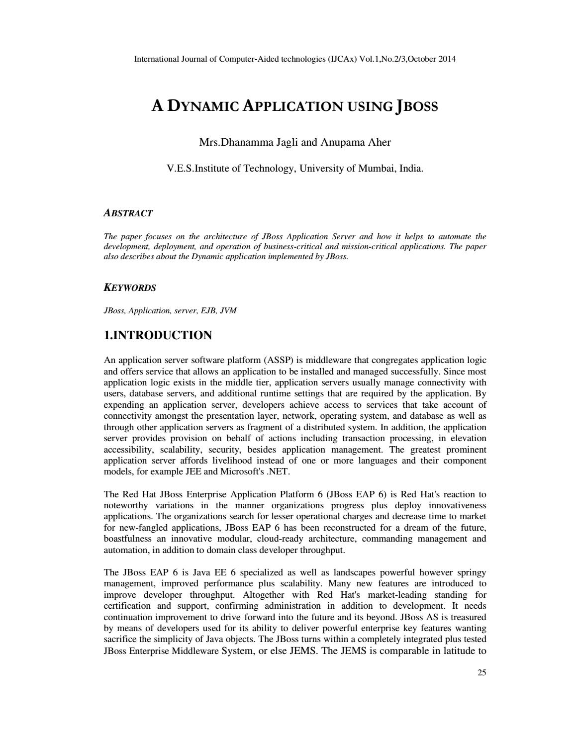 A DYNAMIC APPLICATION USING JBOSS by IJCAx - issuu