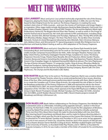 Page 6 of Meet the Writers of The Drowsy Chaperone