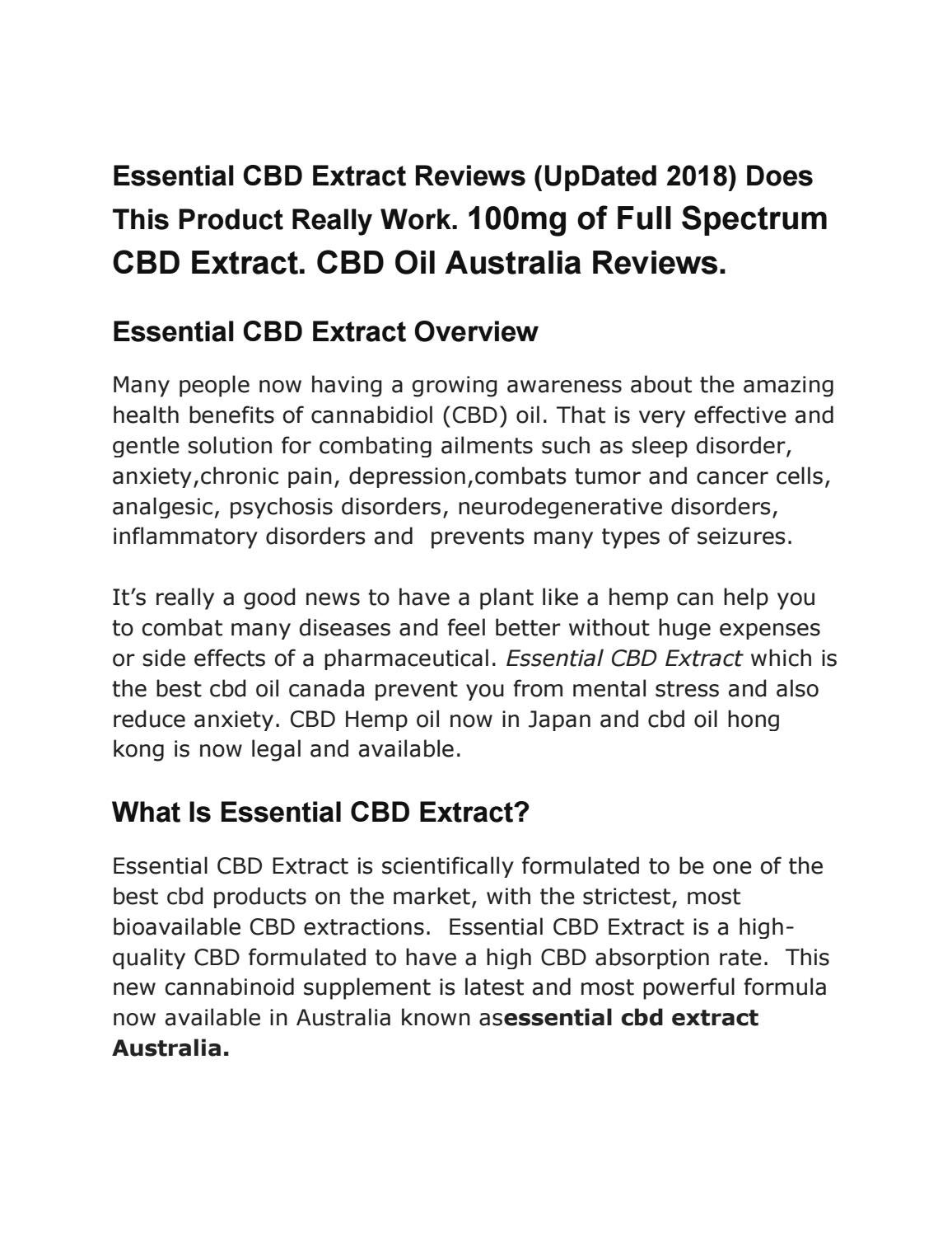 Essential CBD Extract Reviews (UpDated 2018) Does This