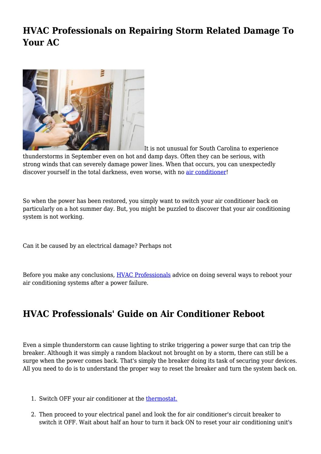HVAC Professionals on Repairing Storm Related Damage To Your