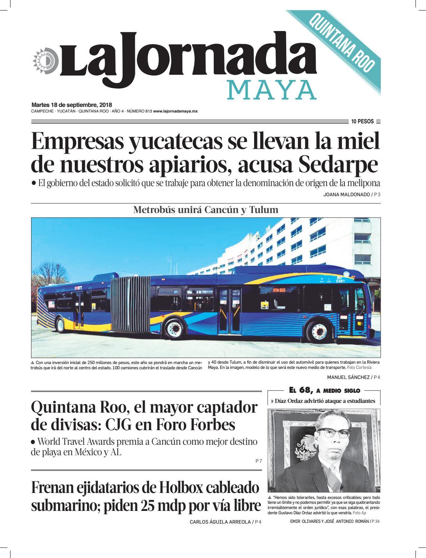 70df04e62d8bf La Jornada Maya · martes 18 de septiembre de 2018 by La Jornada Maya - issuu