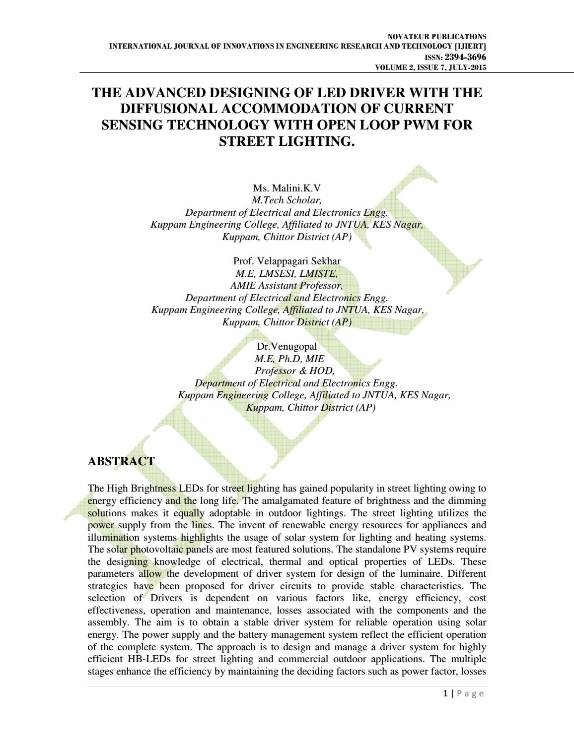 Ijiert The Advanced Designing Of Led Driver With Diffusional Understanding This Lm317 Circuit Electrical Engineering Accommodation Current Sensing By Journal Issuu