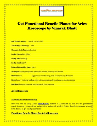 Get Functional Benefic Planet for Aries Horoscope by Vinayak