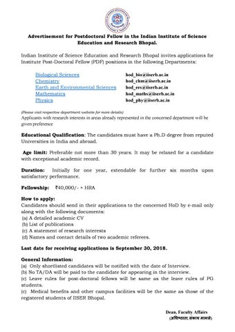 Post Doctoral fellow Post with 40,000 Salary p m @ IISERB by