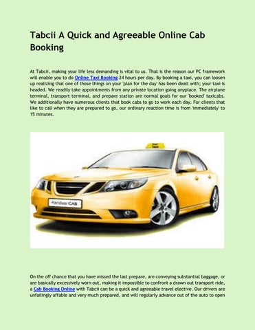Tabcii A Quick and Agreeable Online Cab Booking by Tabciionline - issuu