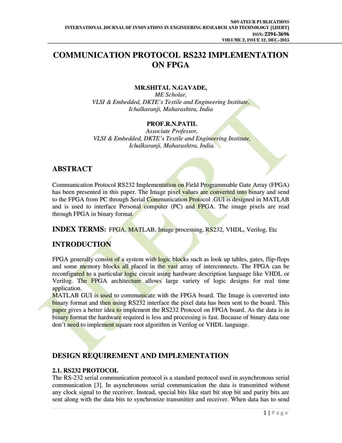 IJIERT-COMMUNICATION PROTOCOL RS232 IMPLEMENTATION ON FPGA