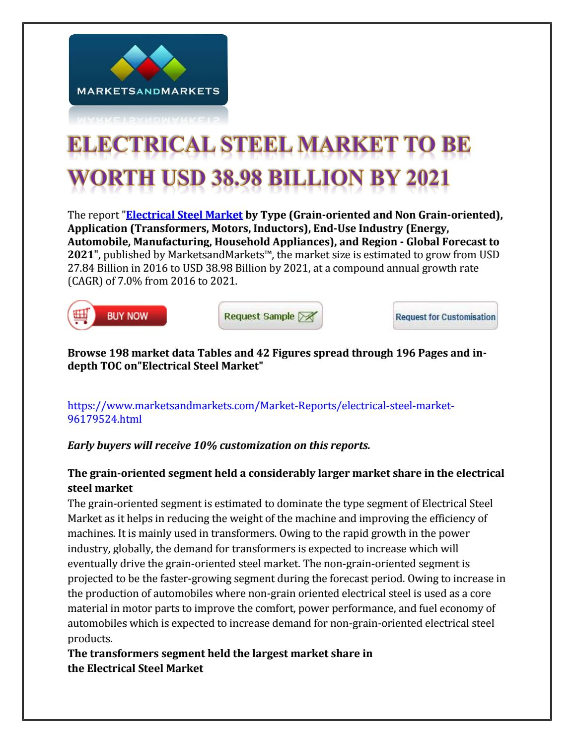 Electrical Steel Market to be Worth USD 38 98 Billion by
