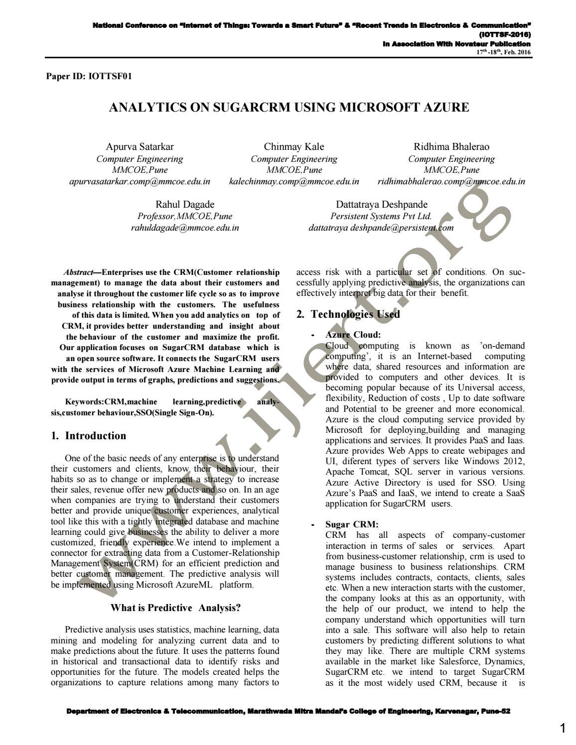 IJIERT-ANALYTICS ON SUGARCRM USING MICROSOFT AZURE by IJIERT