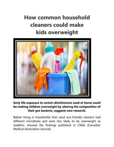 Household Disinfectants Could Be Making >> How Common Household Cleaners Could Make Kids Overweight By