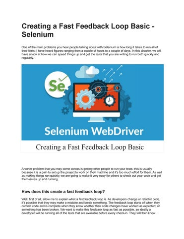 Creating a Fast Feedback Loop Basic - Selenium by vamsi krishna - issuu