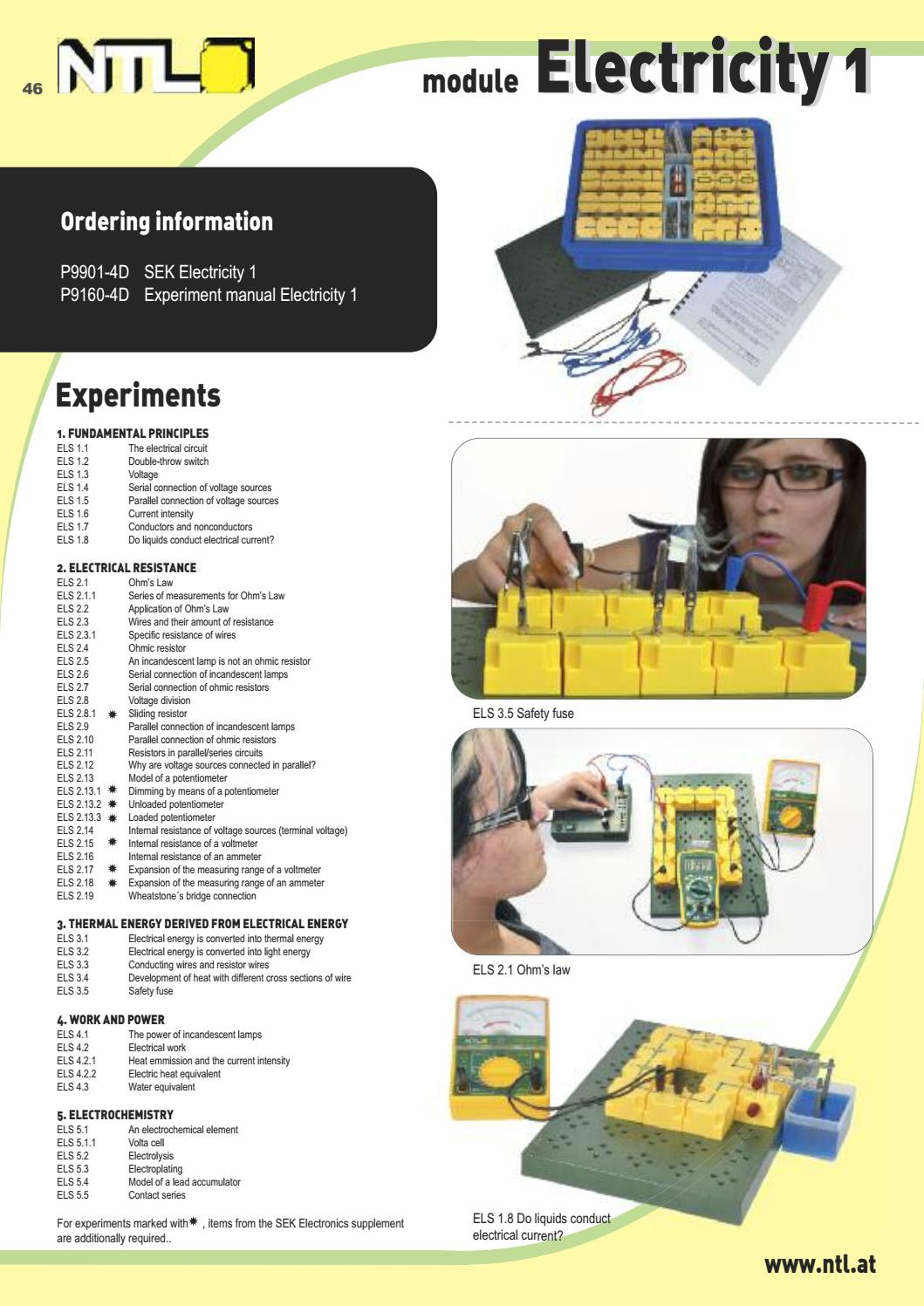 Student Experiments General Catalogue By Fruhmann Gmbh Ntl Circuit With Switches In Parallel A Lamp And Cell The Manufacturer Wholesaler Issuu