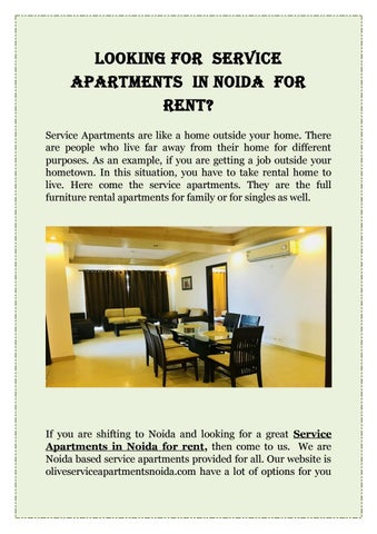 Looking For Service Apartments In Noida Rent
