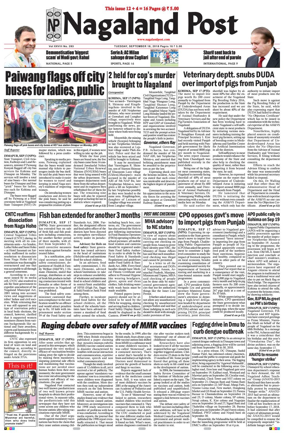 September 18, 2018 by Nagaland Post - issuu