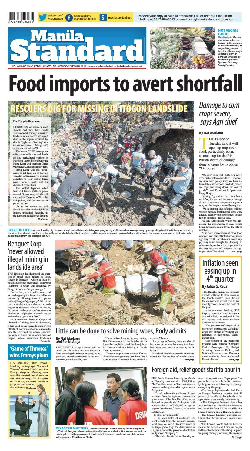 Manila Standard - 2018 September 19 - Wednesday by Manila