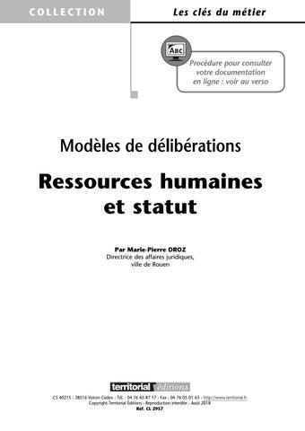 Modeles De Deliberations Ressources Humaines Et Statut By Infopro