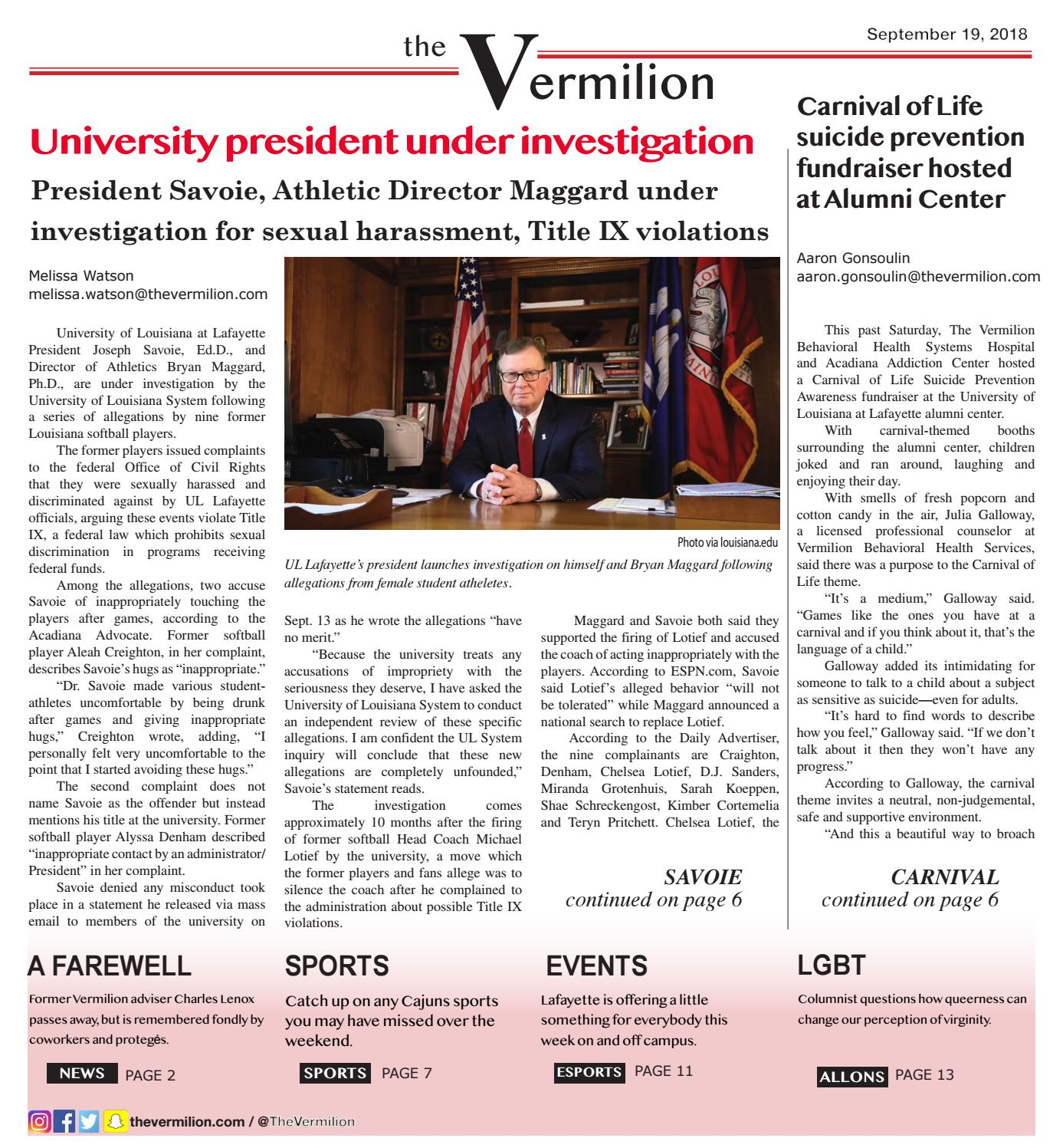 The Vermilion: Sept  19 Issue by The Vermilion - issuu