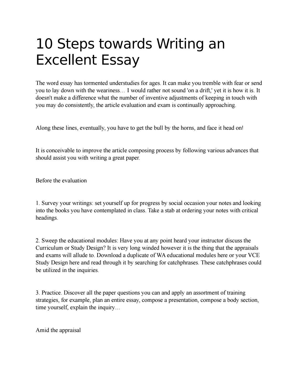 Steps Towards Writing An Excellent Essay By Elenasmith  Issuu