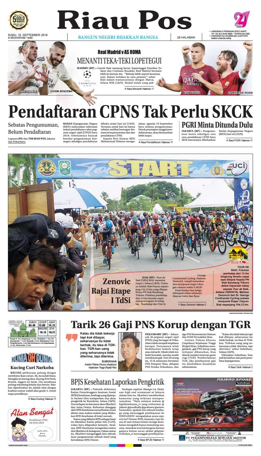 Riau Pos Edisi 19 September 2018 By Issuu Rkb Tegal Madu Mongso