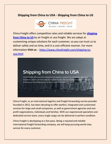 Shipping from China to USA -Shipping from China to US by China