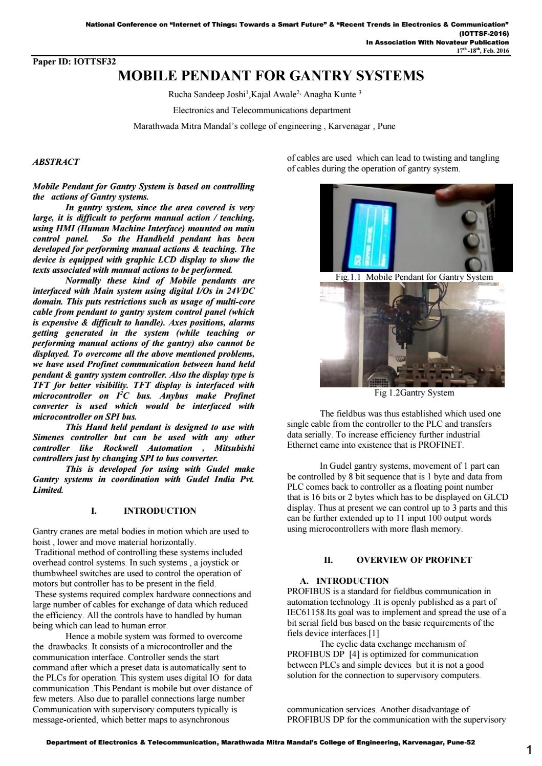 IJIERT-MOBILE PENDANT FOR GANTRY SYSTEMS by IJIERT Journal - issuu
