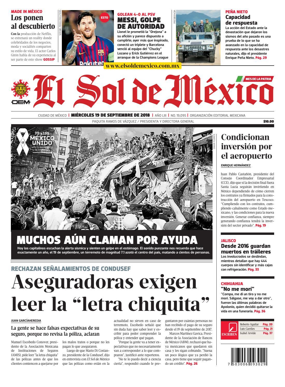 896e321847 El Sol de México 19 de septiembre 2018 by El Sol de México - issuu